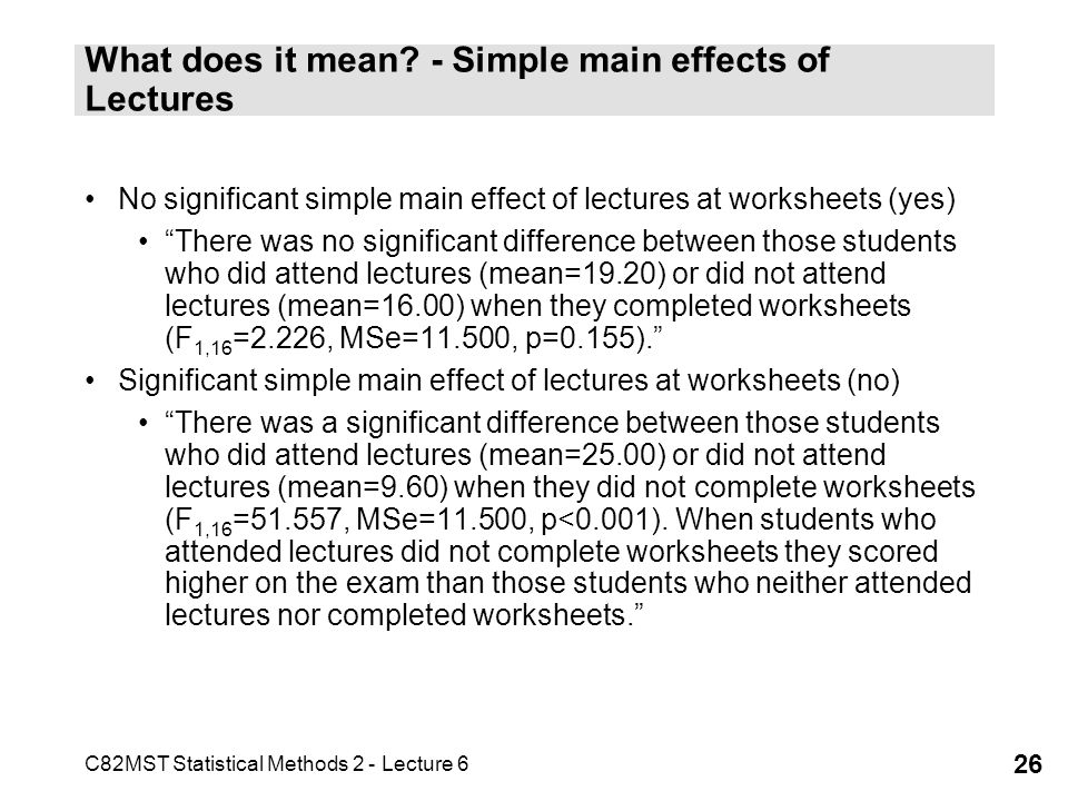 C82MST Statistical Methods 2 - Lecture 6 26 What does it mean? - Simple main effects of Lectures No significant simple main effect of lectures at work