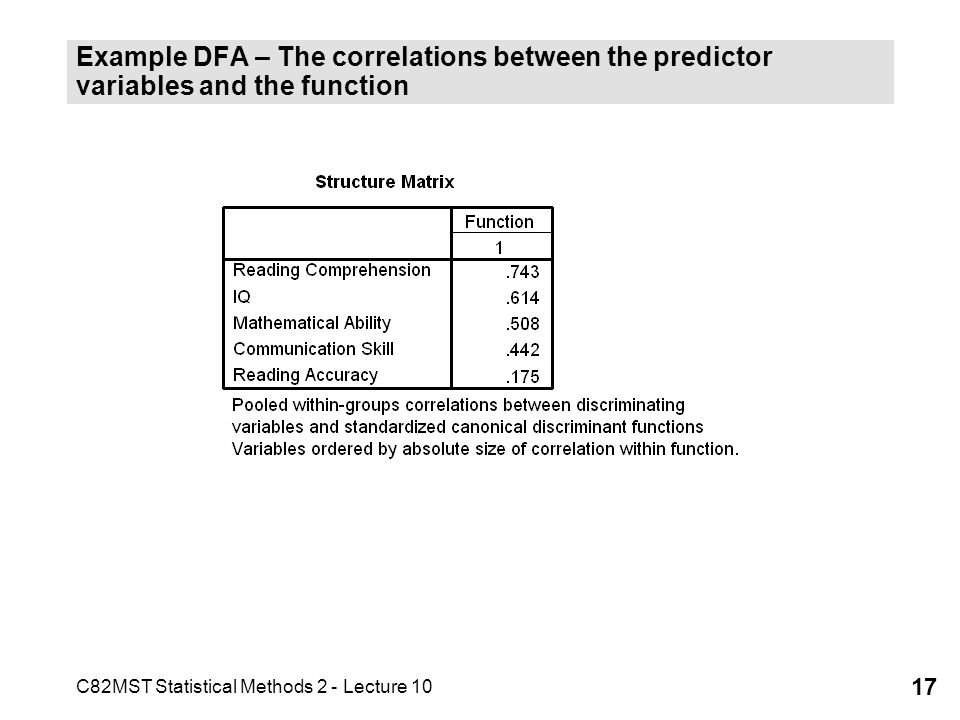 C82MST Statistical Methods 2 - Lecture 10 17 Example DFA – The correlations between the predictor variables and the function