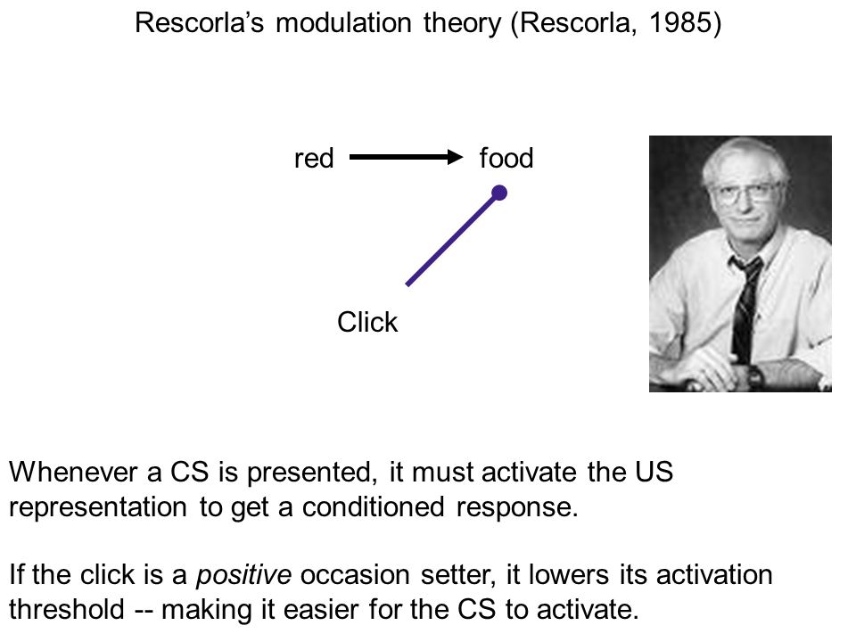 redfood Click Rescorlas modulation theory (Rescorla, 1985) Whenever a CS is presented, it must activate the US representation to get a conditioned res