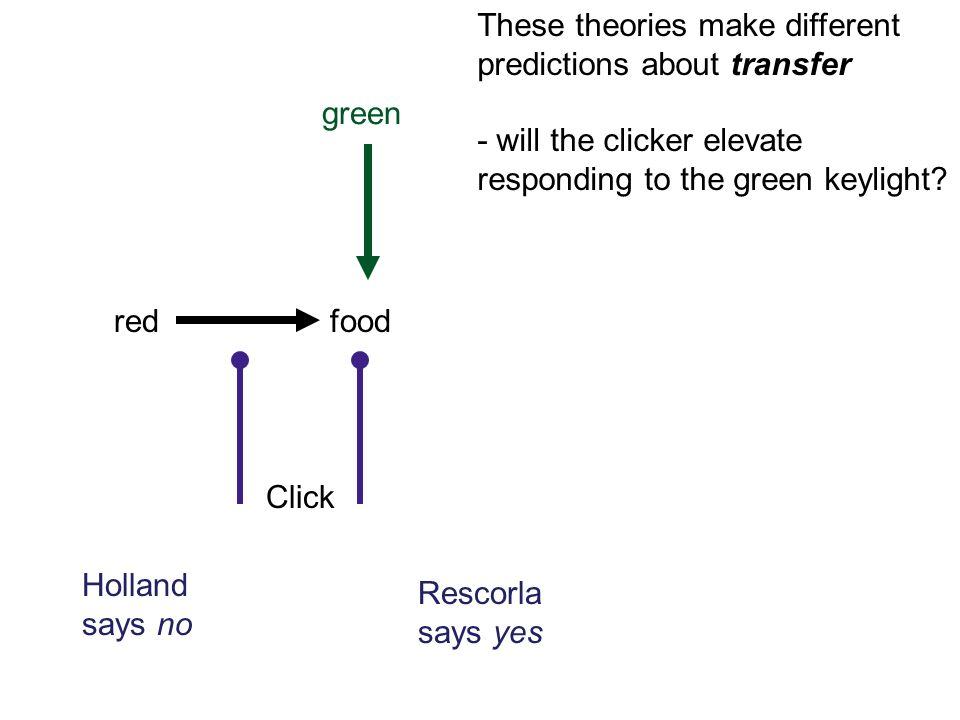 redfood green These theories make different predictions about transfer - will the clicker elevate responding to the green keylight.
