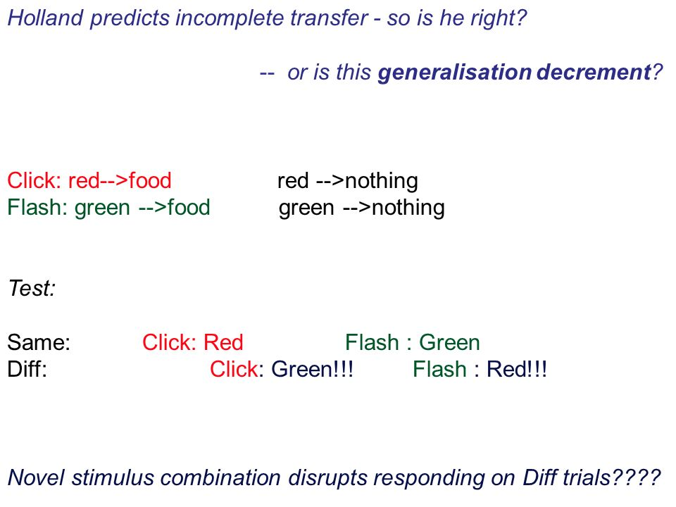 Holland predicts incomplete transfer - so is he right? -- or is this generalisation decrement? Click: red-->food red -->nothing Flash: green -->food g