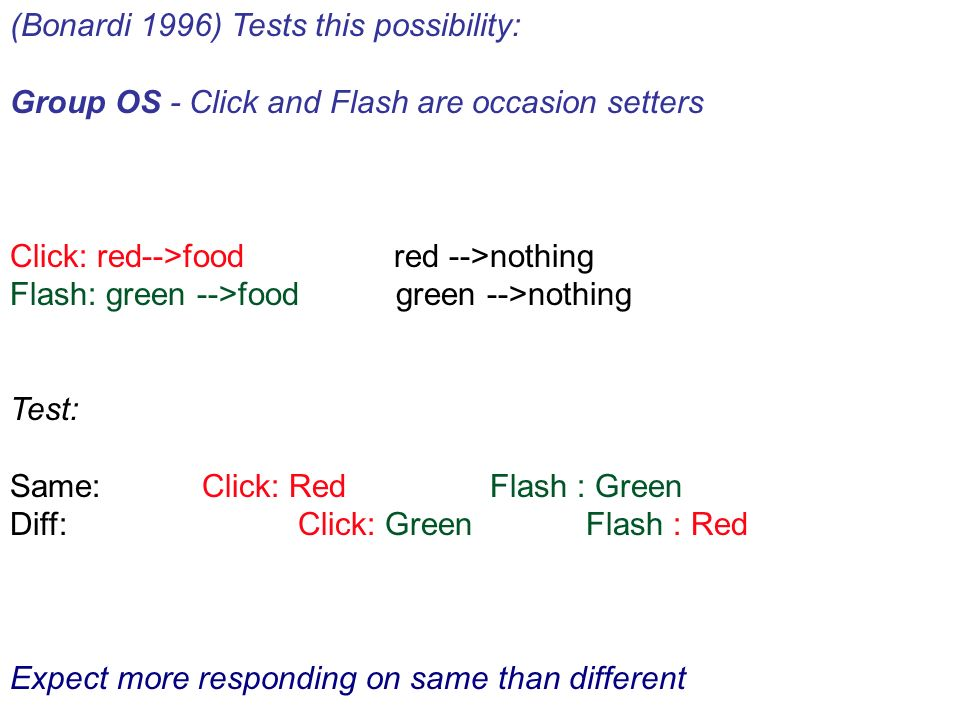(Bonardi 1996) Tests this possibility: Group OS - Click and Flash are occasion setters Click: red-->food red -->nothing Flash: green -->food green -->