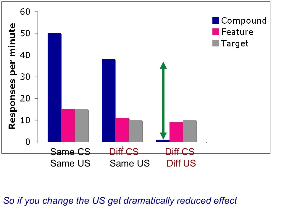Same CS Diff CS Diff CS Same US Same US Diff US So if you change the US get dramatically reduced effect