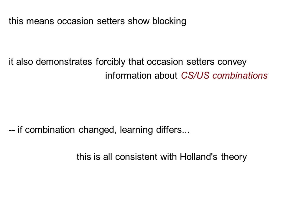 this means occasion setters show blocking it also demonstrates forcibly that occasion setters convey information about CS/US combinations -- if combination changed, learning differs...
