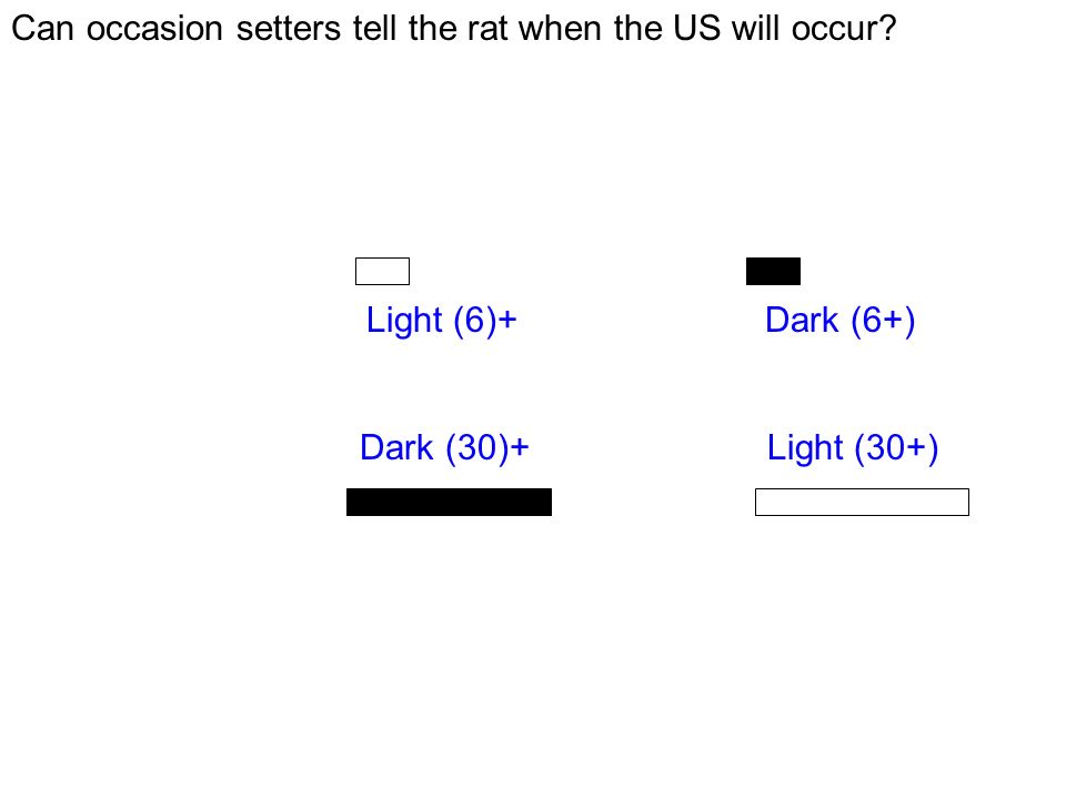 Can occasion setters tell the rat when the US will occur? Short trials: Click: Light (6)+ Noise: Dark (6+) Long trials: Click: Dark (30)+ Noise: Light