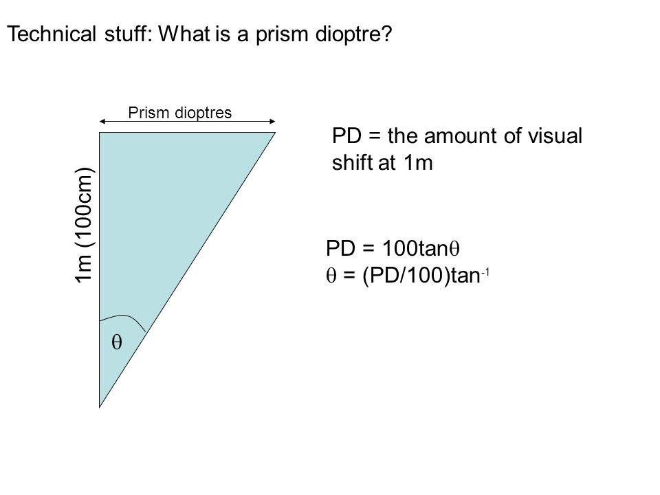 PD = 100tan = (PD/100)tan -1 Prism dioptres 1m (100cm) PD = the amount of visual shift at 1m Technical stuff: What is a prism dioptre
