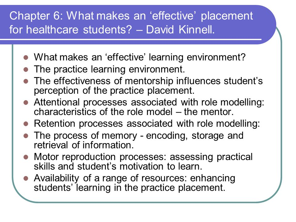 Chapter 6: What makes an effective placement for healthcare students.