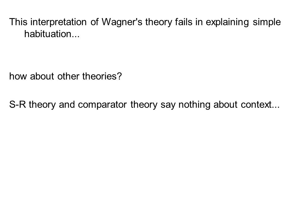 This interpretation of Wagner s theory fails in explaining simple habituation...