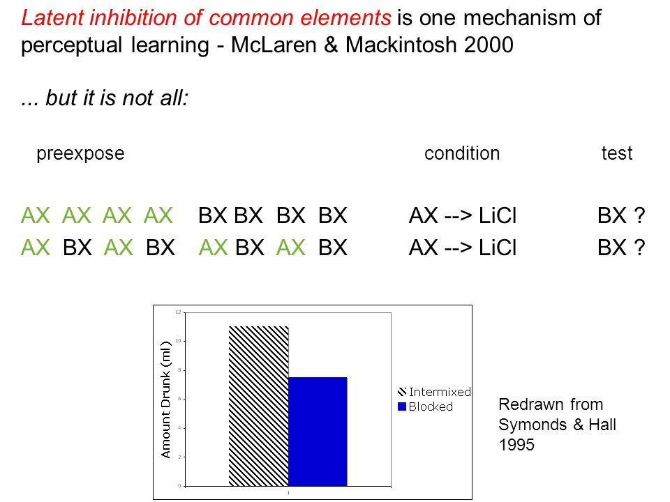 Latent inhibition of common elements is one mechanism of perceptual learning - McLaren & Mackintosh 2000...