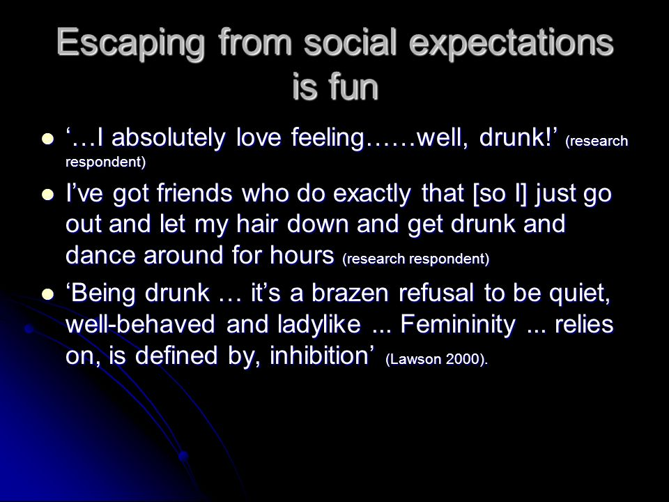 Escaping from social expectations is fun …I absolutely love feeling……well, drunk! (research respondent) …I absolutely love feeling……well, drunk! (rese