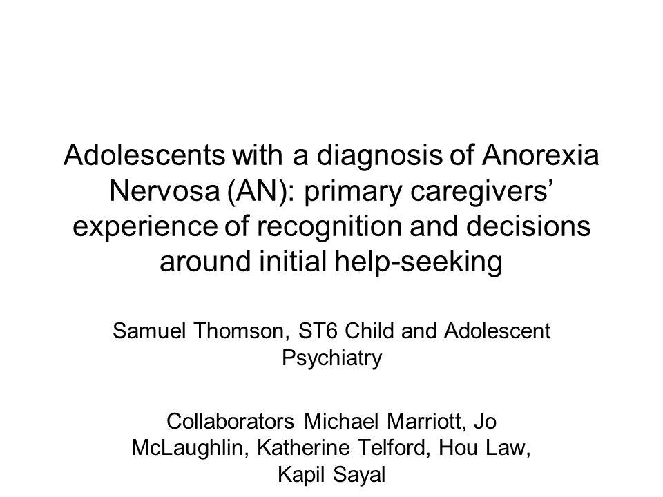 Idea development Rarely present themselves Onus on parents Duration of illness related to outcome (Rosenvinge & Mouland, 1990; Steinhausen, 2002; Ratnasuriya et al., 1991) DUED, c.f.