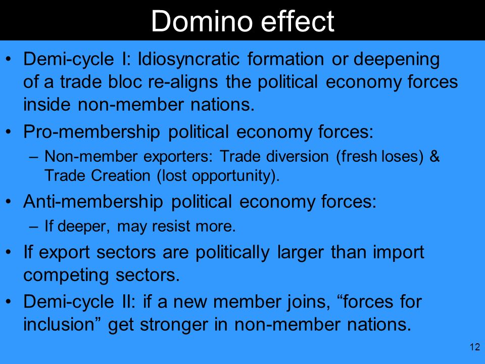 12 Domino effect Demi-cycle I: Idiosyncratic formation or deepening of a trade bloc re-aligns the political economy forces inside non-member nations.