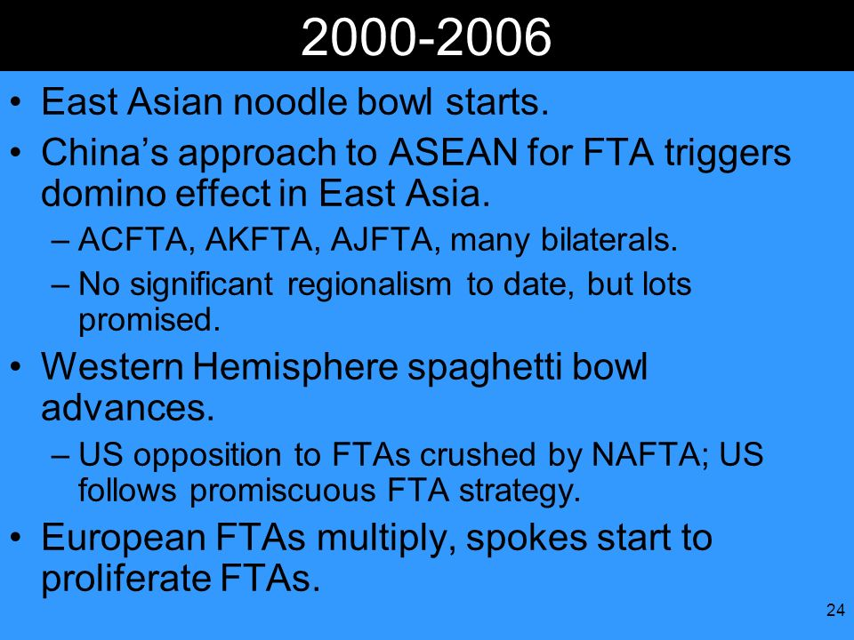 24 2000-2006 East Asian noodle bowl starts. Chinas approach to ASEAN for FTA triggers domino effect in East Asia. –ACFTA, AKFTA, AJFTA, many bilateral