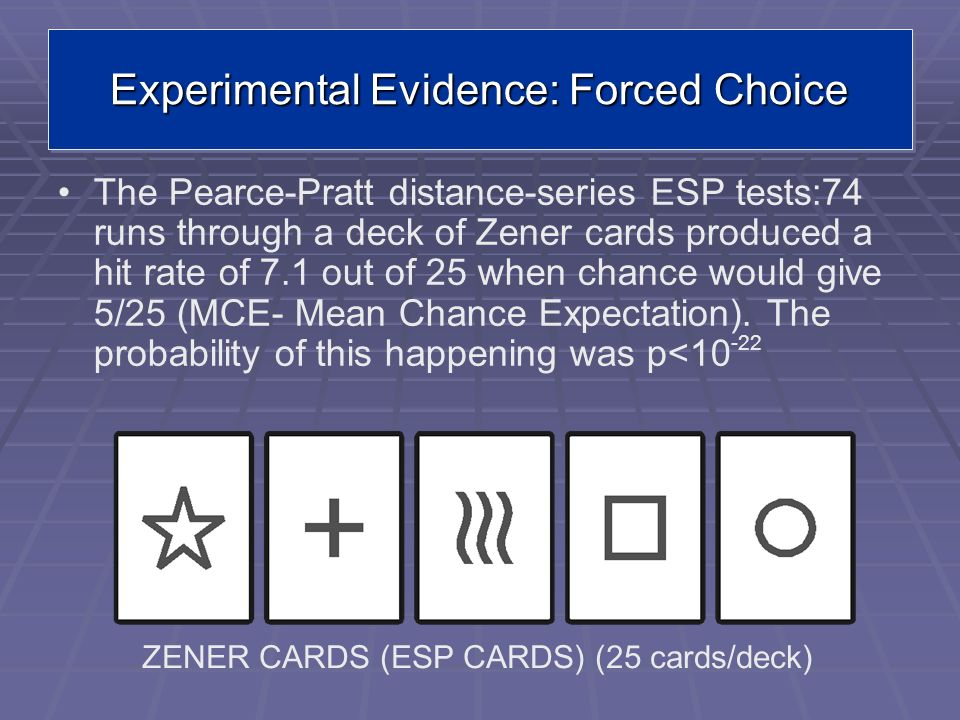 Experimental Evidence: Forced Choice The Pearce-Pratt distance-series ESP tests:74 runs through a deck of Zener cards produced a hit rate of 7.1 out o
