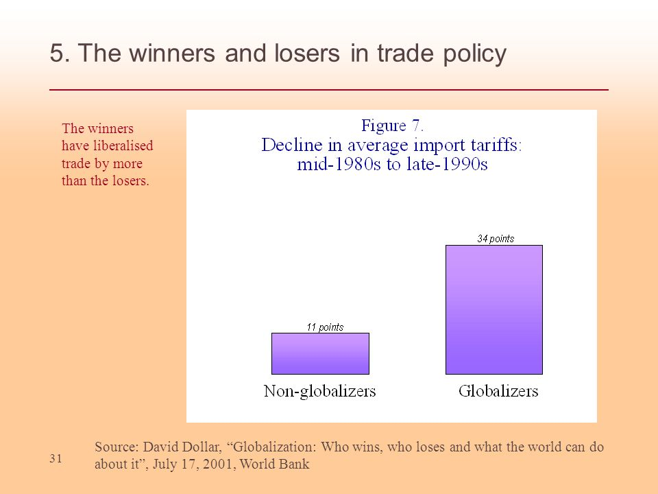 31 5. The winners and losers in trade policy Source: David Dollar, Globalization: Who wins, who loses and what the world can do about it, July 17, 200