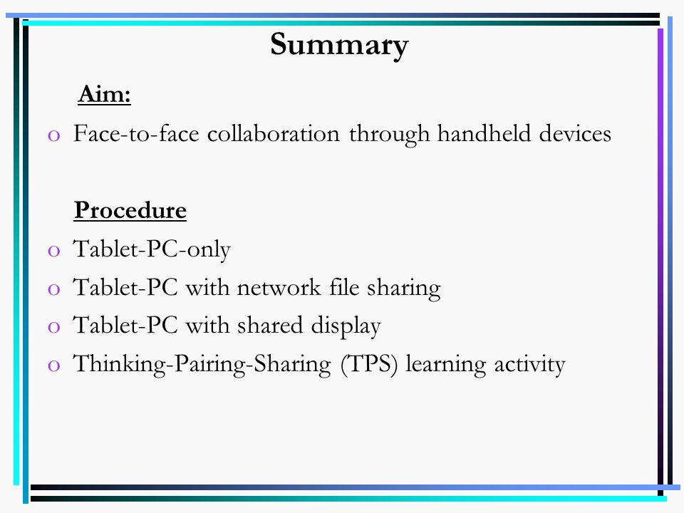 oInteraction Paper 1- Shared displays Paper 2- Shared display systems (touch screen) Paper 3- Interactive television Paper 4- PDAs Paper 5- PDAs, Interactive tables, GPS