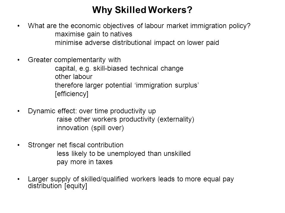 Why Skilled Workers. What are the economic objectives of labour market immigration policy.