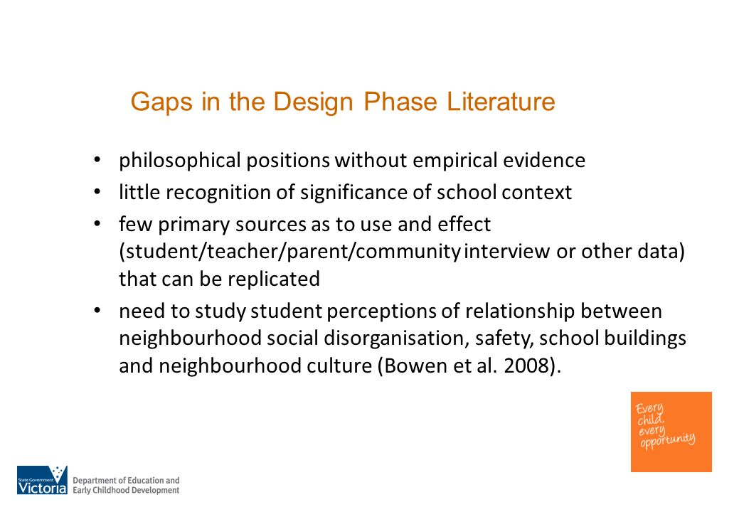 Gaps in the Design Phase Literature philosophical positions without empirical evidence little recognition of significance of school context few primary sources as to use and effect (student/teacher/parent/community interview or other data) that can be replicated need to study student perceptions of relationship between neighbourhood social disorganisation, safety, school buildings and neighbourhood culture (Bowen et al.