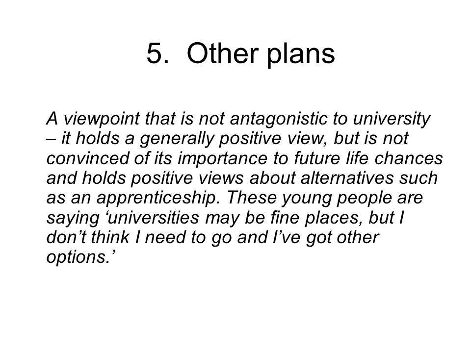 5. Other plans A viewpoint that is not antagonistic to university – it holds a generally positive view, but is not convinced of its importance to futu