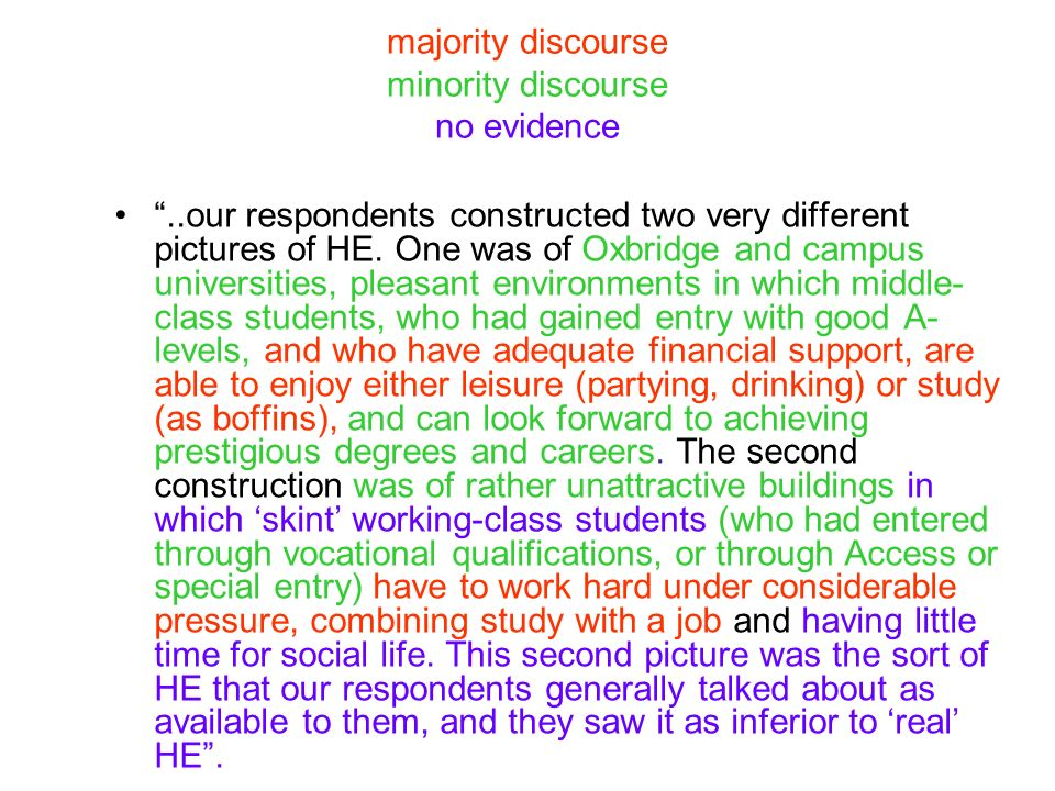 majority discourse minority discourse no evidence..our respondents constructed two very different pictures of HE. One was of Oxbridge and campus unive