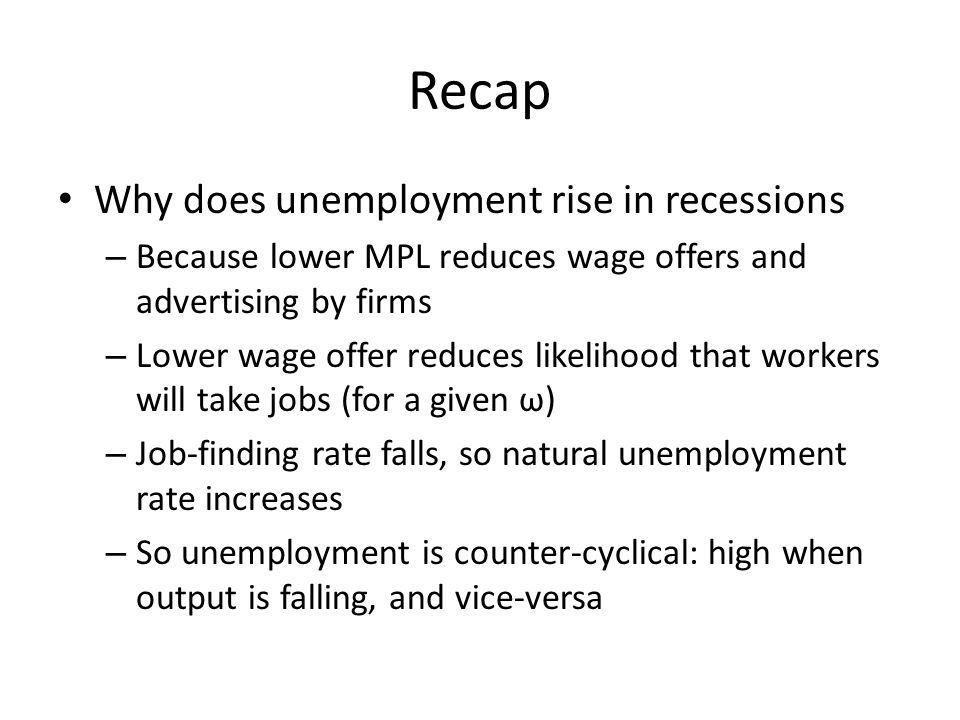 Recap Why does unemployment rise in recessions – Because lower MPL reduces wage offers and advertising by firms – Lower wage offer reduces likelihood