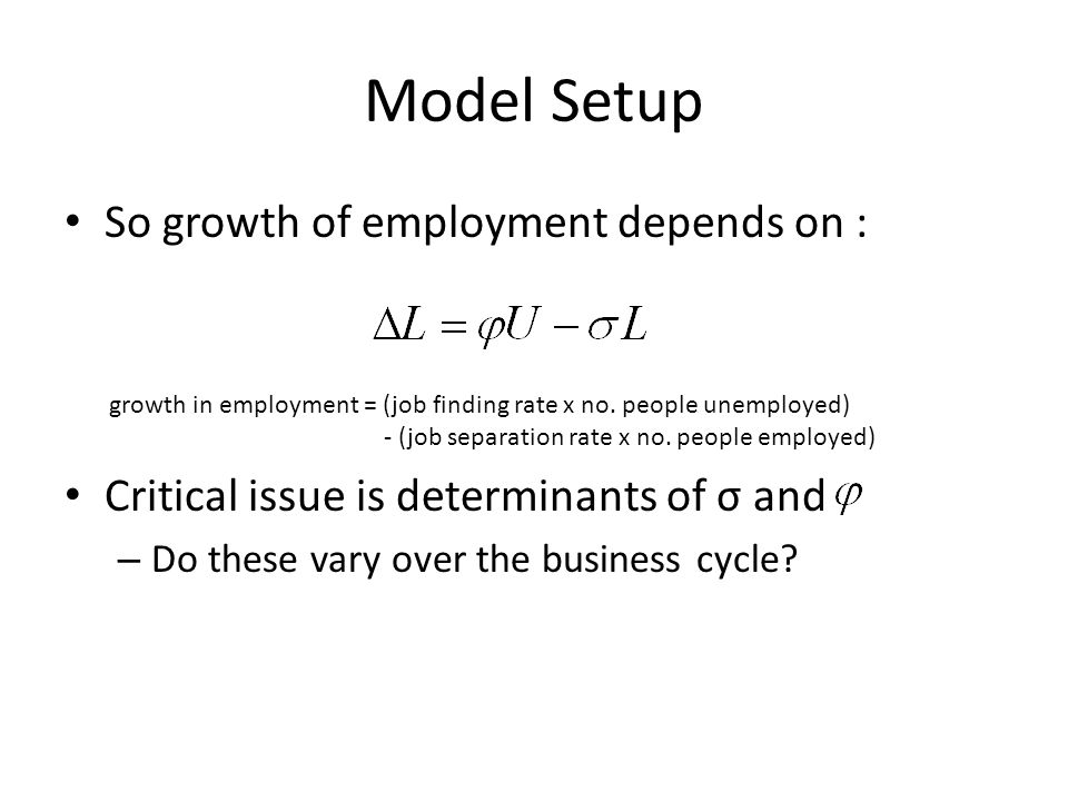 Model Setup So growth of employment depends on : Critical issue is determinants of σ and – Do these vary over the business cycle? growth in employment