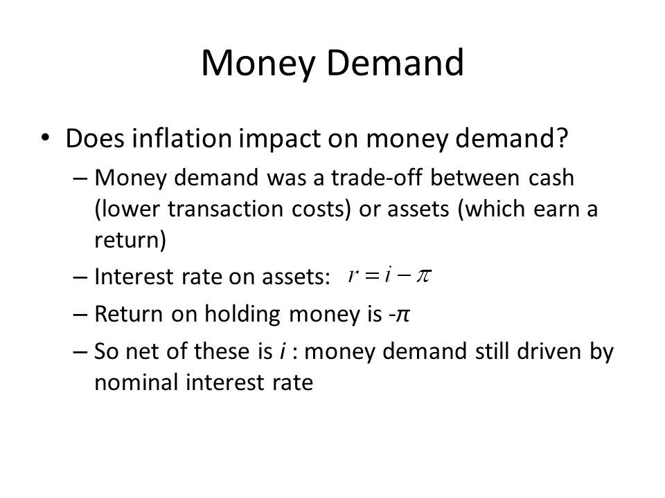 Money Demand Does inflation impact on money demand? – Money demand was a trade-off between cash (lower transaction costs) or assets (which earn a retu
