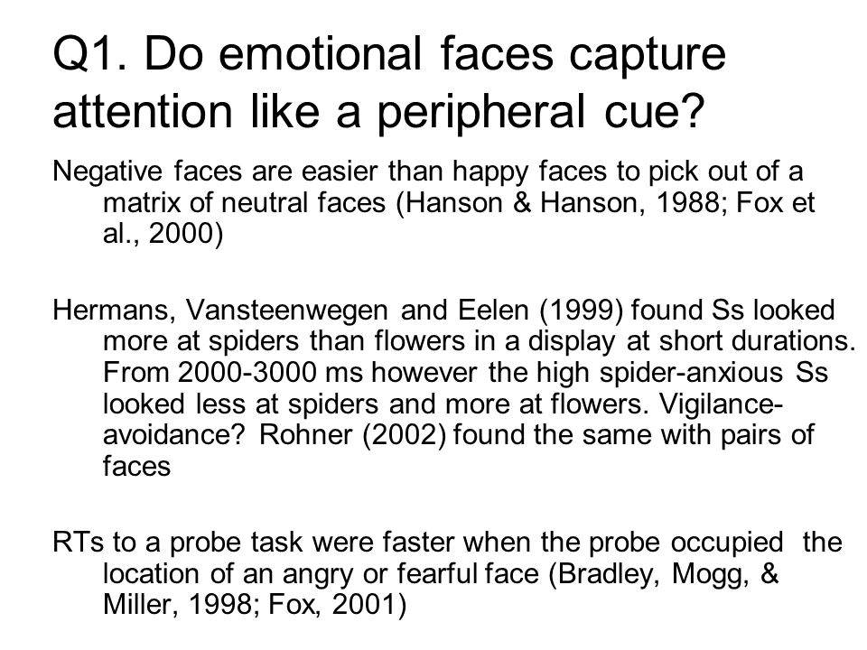 Q1. Do emotional faces capture attention like a peripheral cue.
