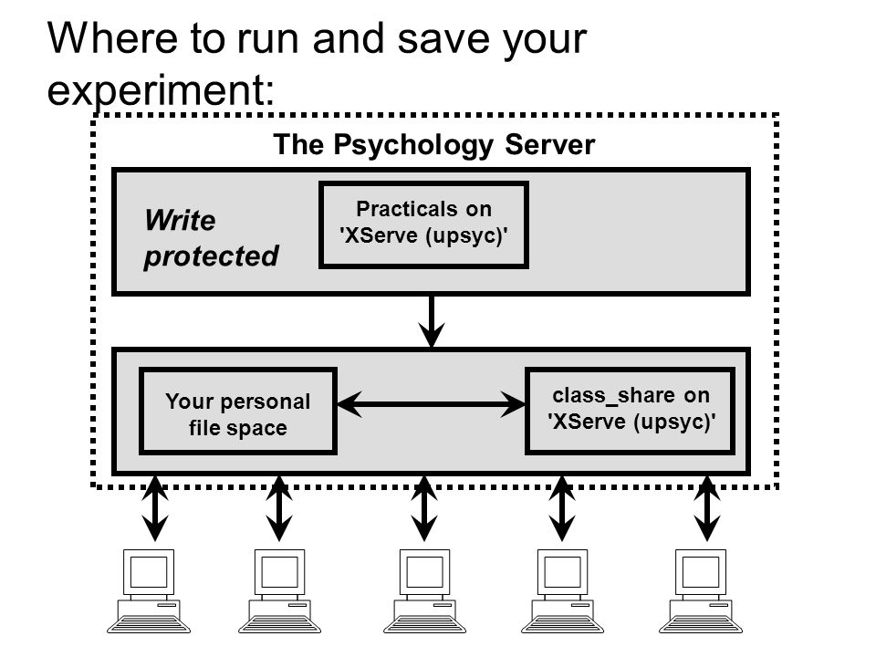 Where to run and save your experiment: The Psychology Server Your personal file space Practicals on 'XServe (upsyc)' class_share on 'XServe (upsyc)' W
