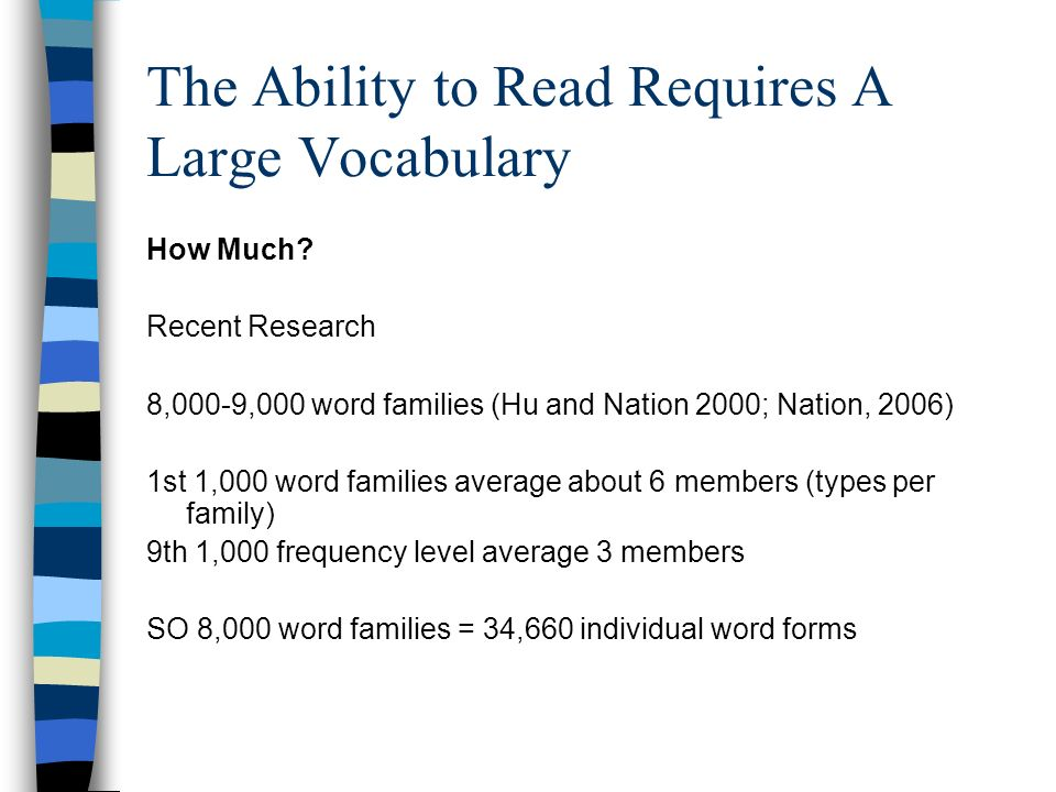 The Ability to Read Requires A Large Vocabulary How Much? Recent Research 8,000-9,000 word families (Hu and Nation 2000; Nation, 2006) 1st 1,000 word