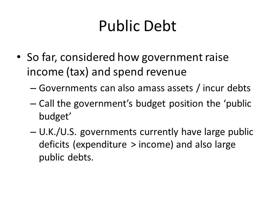 Crucial Result for Public Policy Ricardian Equivalence implies – Cutting taxes now to finance government spending has no impact on the economy – households internalise the debt save more now – Borrowing more now to finance government spending has no impact on the economy – households anticipate tax rises and save more now