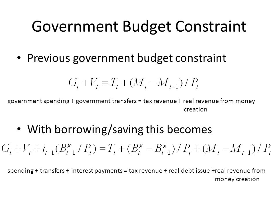 Government Budget Constraint Previous government budget constraint With borrowing/saving this becomes government spending + government transfers = tax