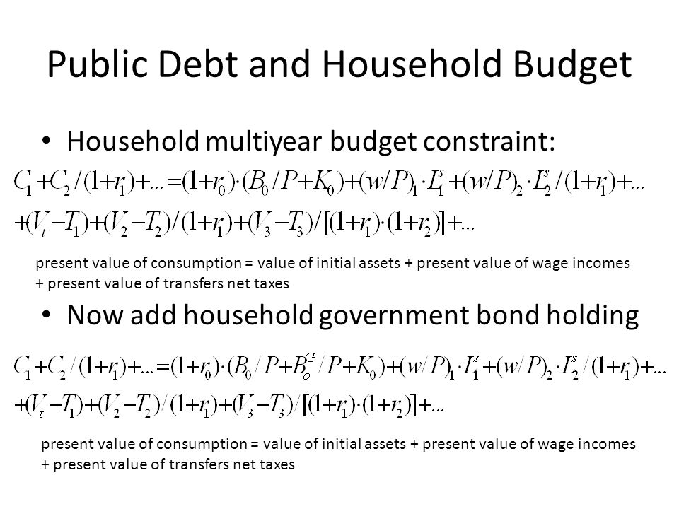 Public Debt and Household Budget Household multiyear budget constraint: Now add household government bond holding present value of consumption = value