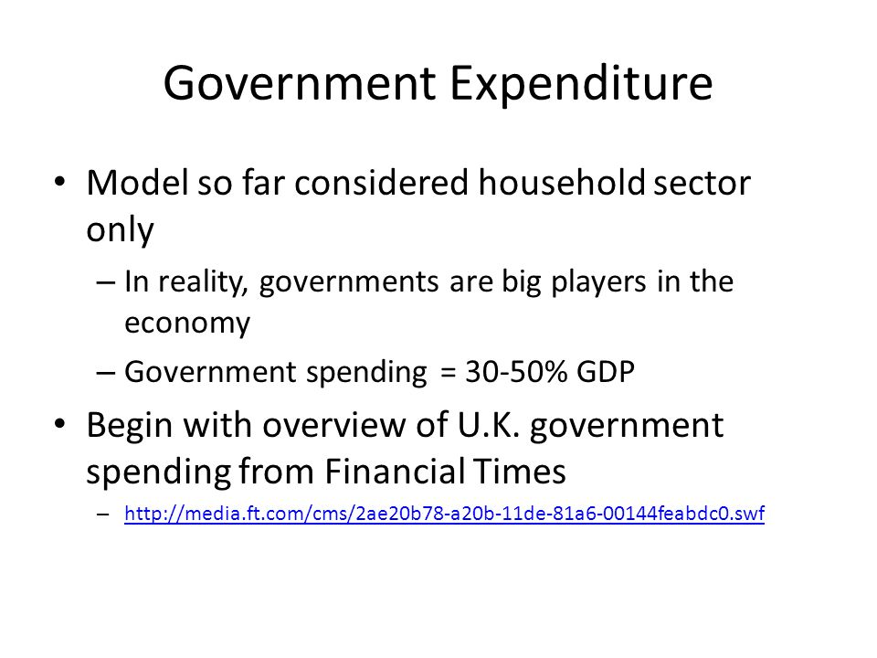 Government Expenditure Model so far considered household sector only – In reality, governments are big players in the economy – Government spending =