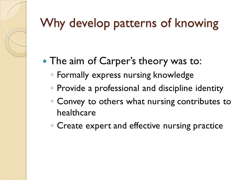 Why develop patterns of knowing The aim of Carpers theory was to: Formally express nursing knowledge Provide a professional and discipline identity Convey to others what nursing contributes to healthcare Create expert and effective nursing practice