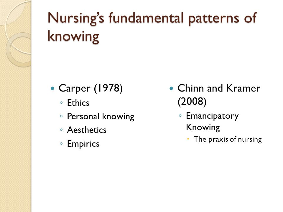 Nursings fundamental patterns of knowing Carper (1978) Ethics Personal knowing Aesthetics Empirics Chinn and Kramer (2008) Emancipatory Knowing The praxis of nursing