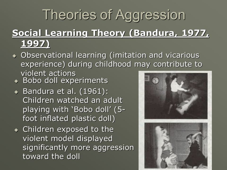 Theories of Aggression Social Learning Theory (Bandura, 1977, 1997) Observational learning (imitation and vicarious experience) during childhood may c