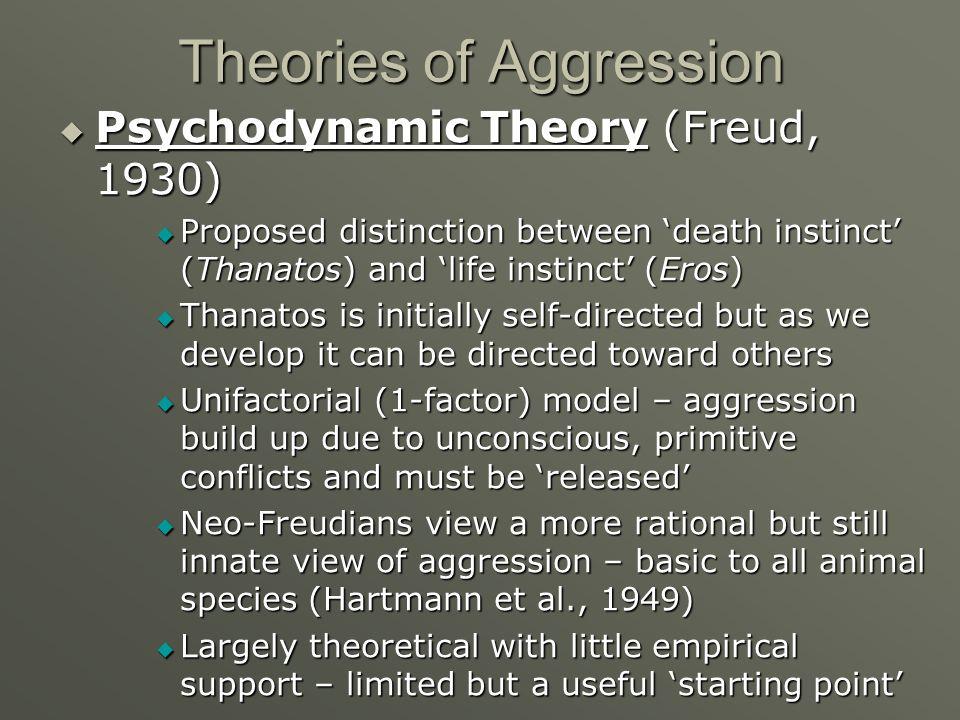Theories of Aggression Psychodynamic Theory (Freud, 1930) Psychodynamic Theory (Freud, 1930) Proposed distinction between death instinct (Thanatos) an