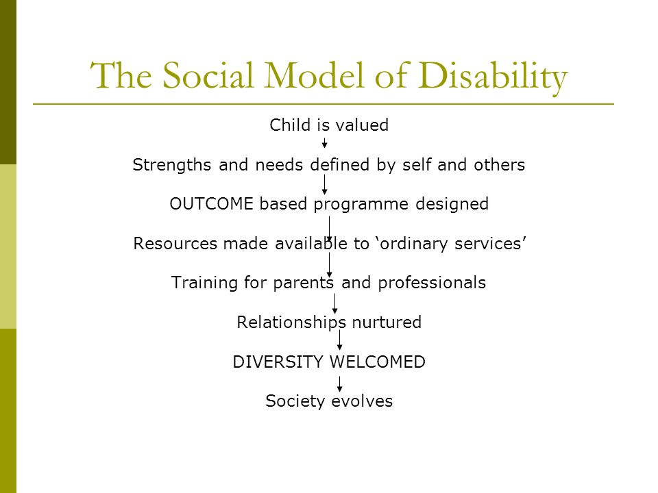 The Social Model of Disability Child is valued Strengths and needs defined by self and others OUTCOME based programme designed Resources made availabl