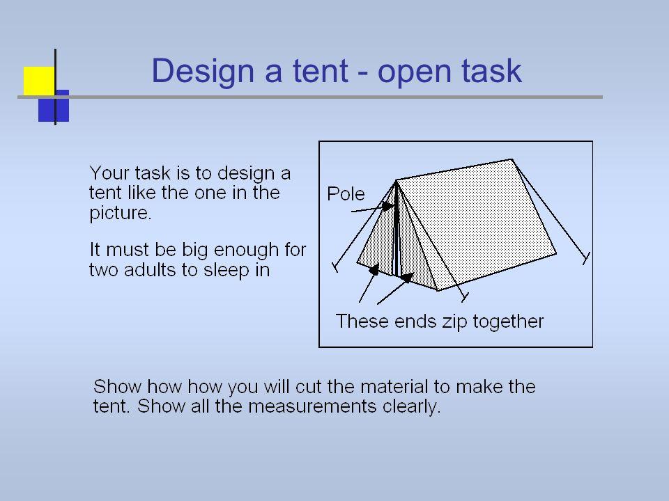 Design a tent - open task