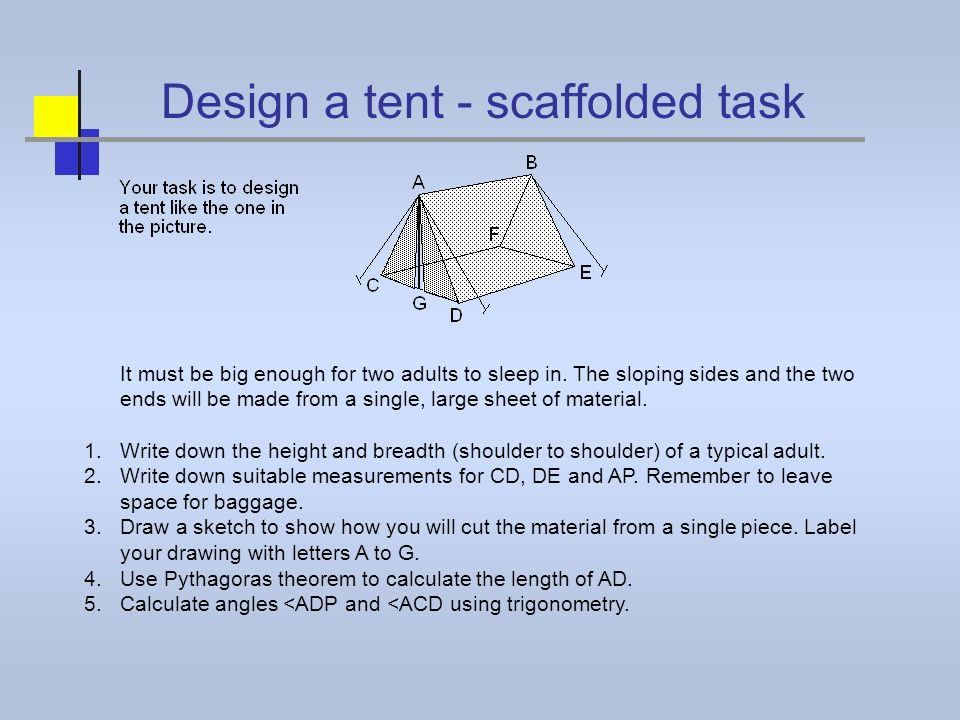 Design a tent - scaffolded task It must be big enough for two adults to sleep in. The sloping sides and the two ends will be made from a single, large