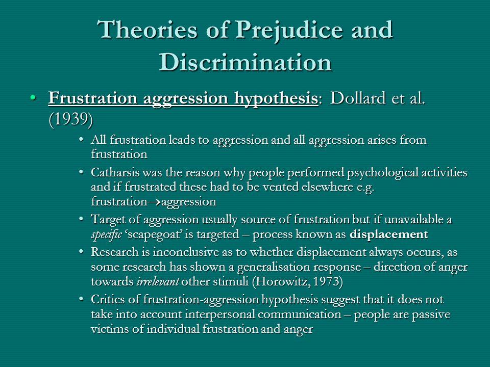 Theories of Prejudice and Discrimination Frustration aggression hypothesis: Dollard et al. (1939)Frustration aggression hypothesis: Dollard et al. (19