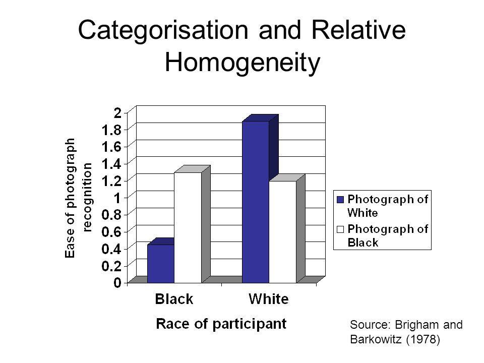 Categorisation and Relative Homogeneity Source: Brigham and Barkowitz (1978)