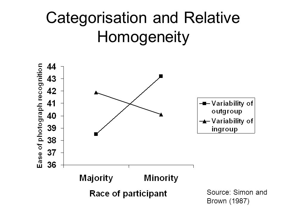 Categorisation and Relative Homogeneity Source: Simon and Brown (1987)