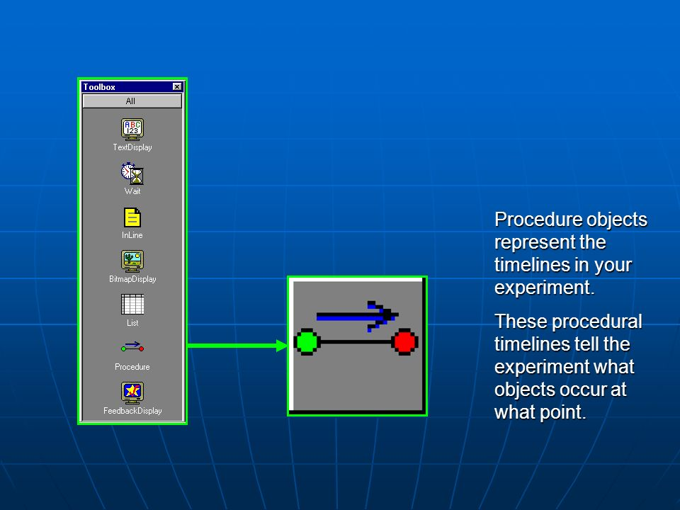 Procedure objects represent the timelines in your experiment.
