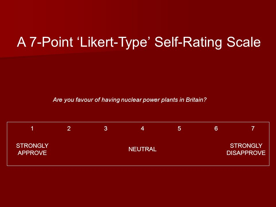 A 7-Point Likert-Type Self-Rating Scale Are you favour of having nuclear power plants in Britain? 1234567 STRONGLY APPROVE NEUTRAL STRONGLY DISAPPROVE