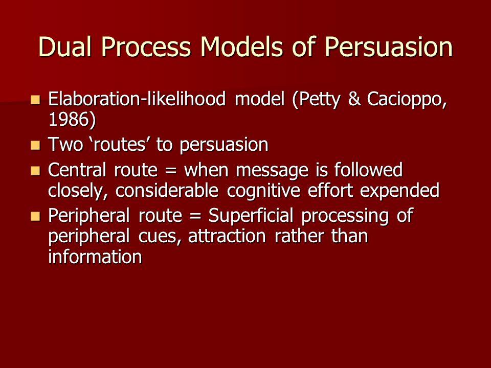 Dual Process Models of Persuasion Elaboration-likelihood model (Petty & Cacioppo, 1986) Elaboration-likelihood model (Petty & Cacioppo, 1986) Two rout