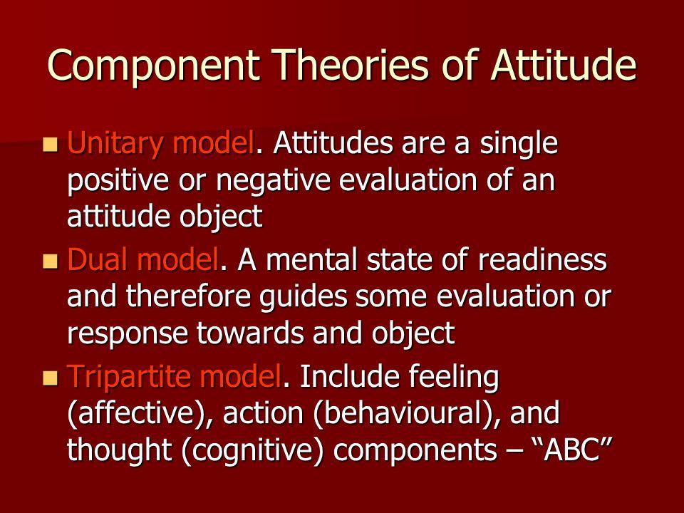 Component Theories of Attitude Unitary model. Attitudes are a single positive or negative evaluation of an attitude object Unitary model. Attitudes ar