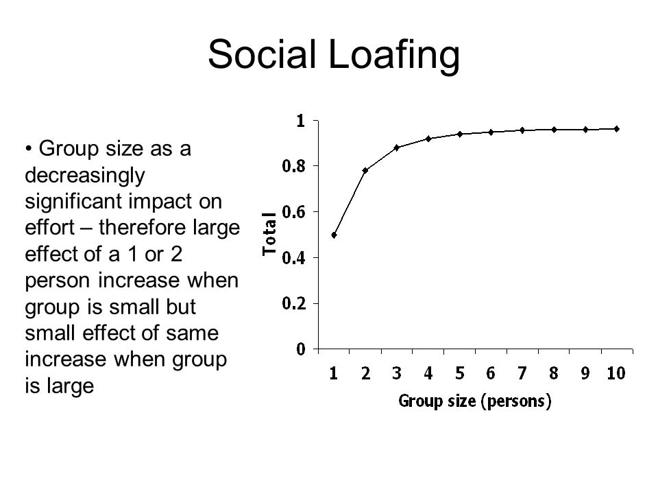 Group size as a decreasingly significant impact on effort – therefore large effect of a 1 or 2 person increase when group is small but small effect of