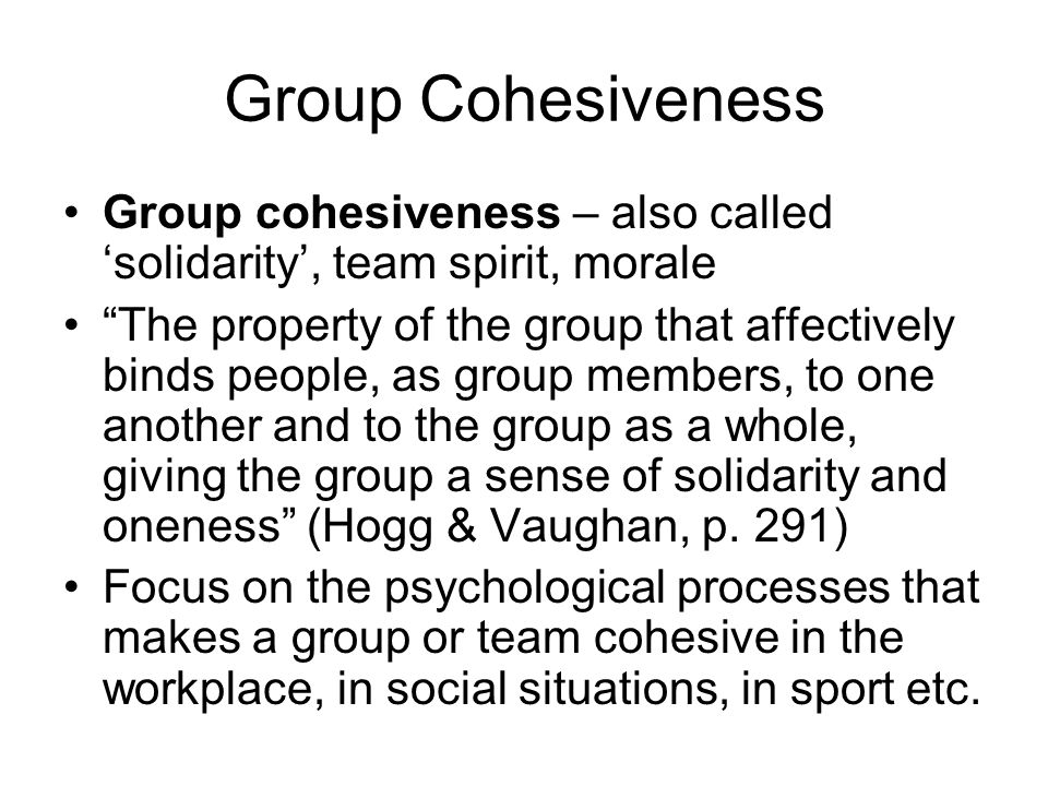 Group Cohesiveness Group cohesiveness – also called solidarity, team spirit, morale The property of the group that affectively binds people, as group